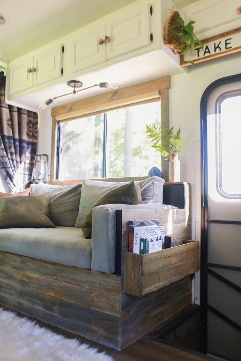 DIY wood planked sofa in RV