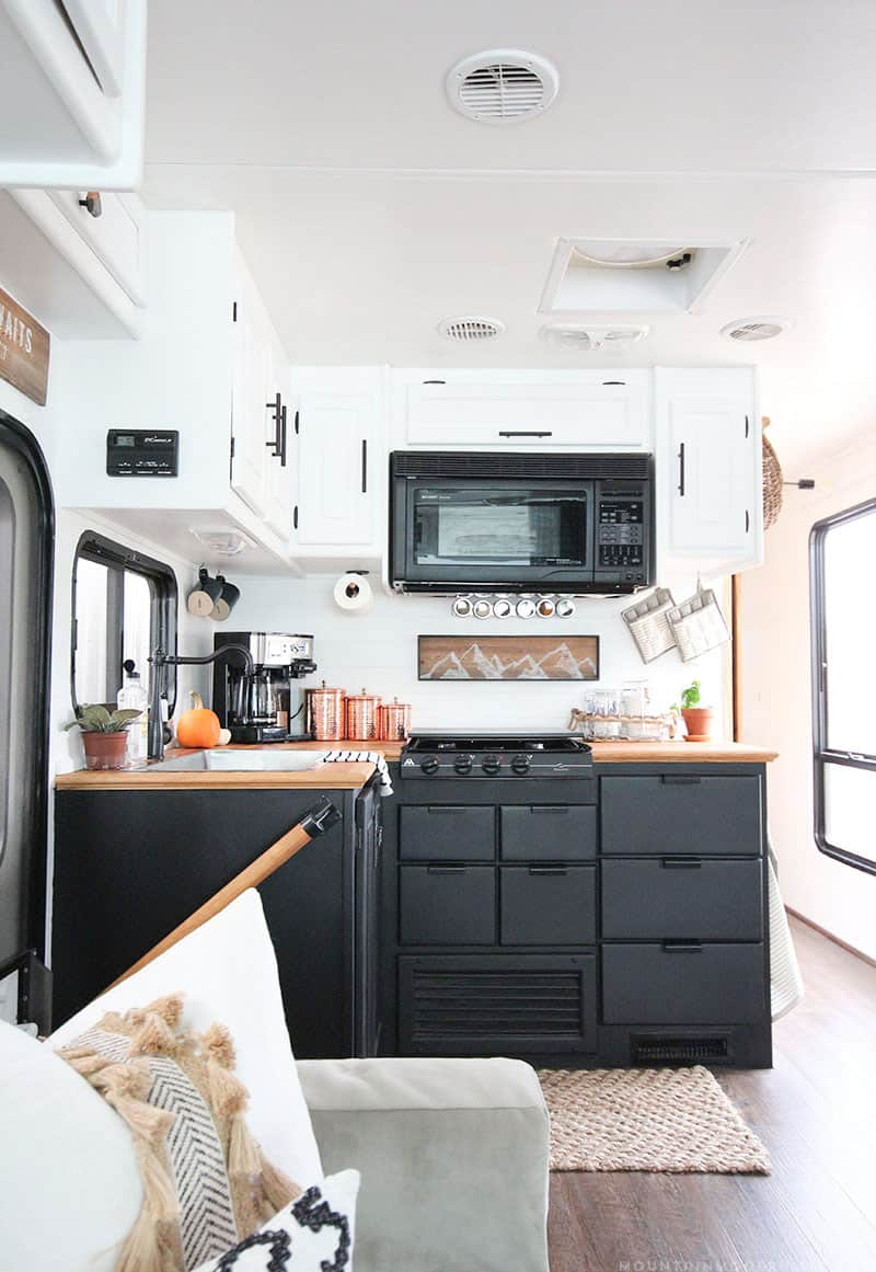 Thinking about updating the kitchen in your camper? Come see how we made a huge impact in our motorhome with our RV kitchen renovation! | MountainModernLife.com #RVreno