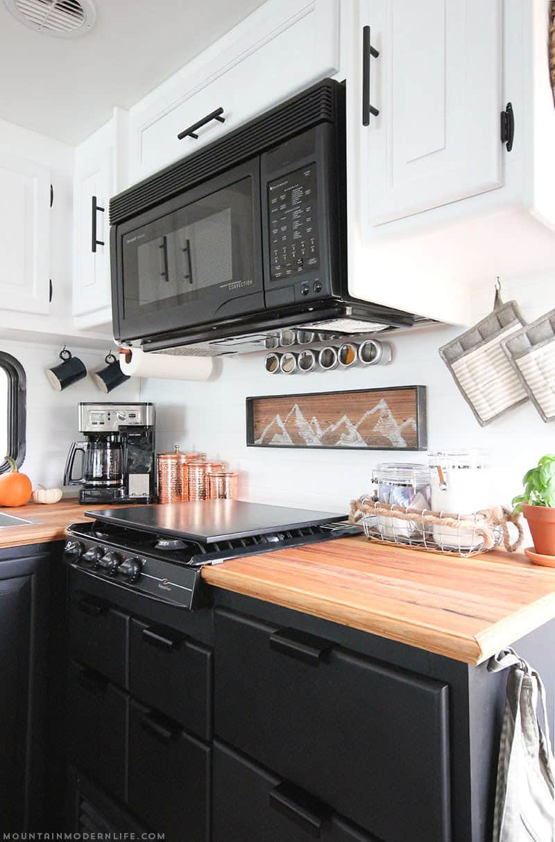 Camper Trailer Kitchen Designs Tiny Kitchen Remodel The Reveal Of Our Rv Kitchen Renovation