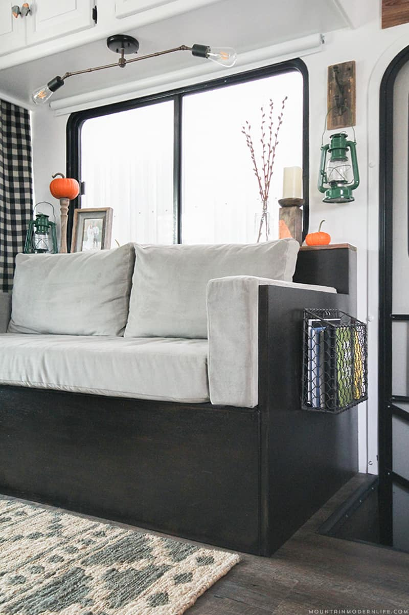 Whether you have a RV, tiny house, or tiny nook to fill, you should know that even tiny sofa's can have style and function like this small DIY sofa that was made for the inside of a RV. MountainModernLife.com