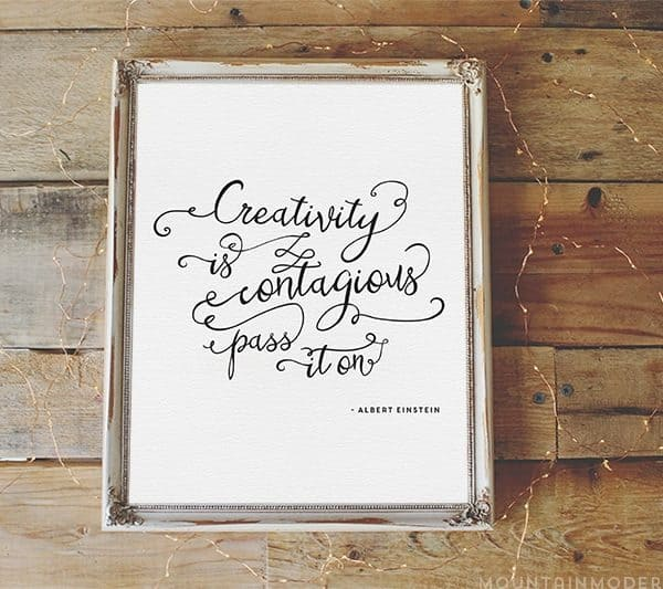 Creativity is Contagious Printable | MountainModernLife.com