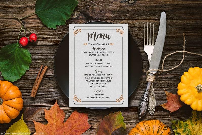 free printable thanksgiving menu. Black Bedroom Furniture Sets. Home Design Ideas