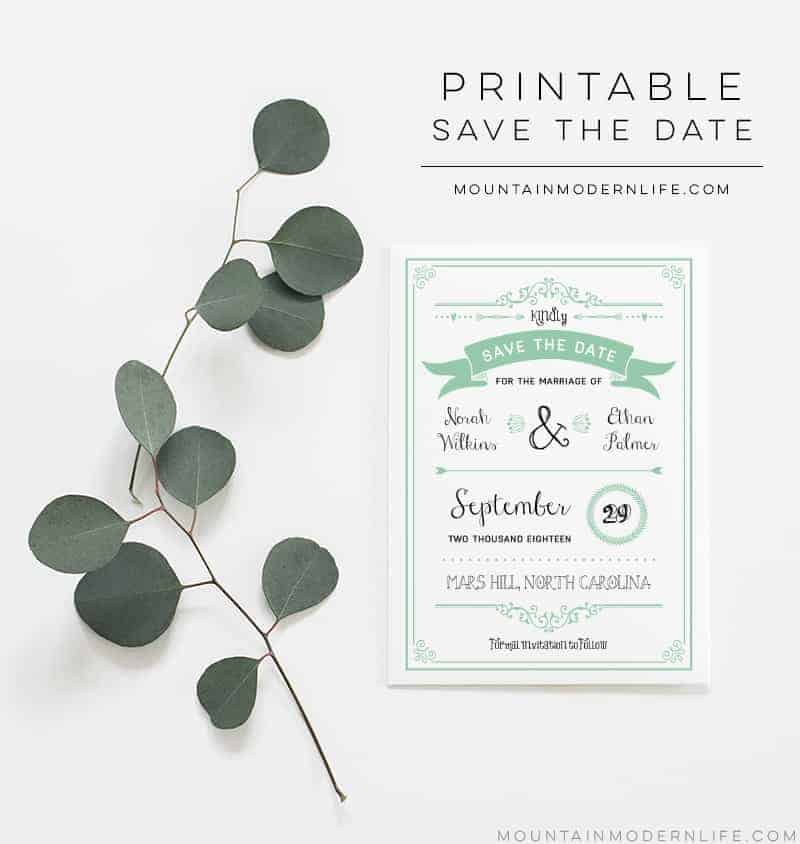 Printable Save the Date Template | MountainModernLife.com