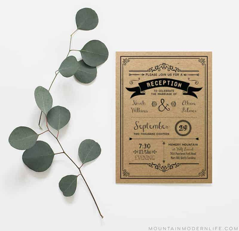 Printable Wedding Reception Only Invitation - Sample Printed on Kraft Paper | MountainModernLife.com