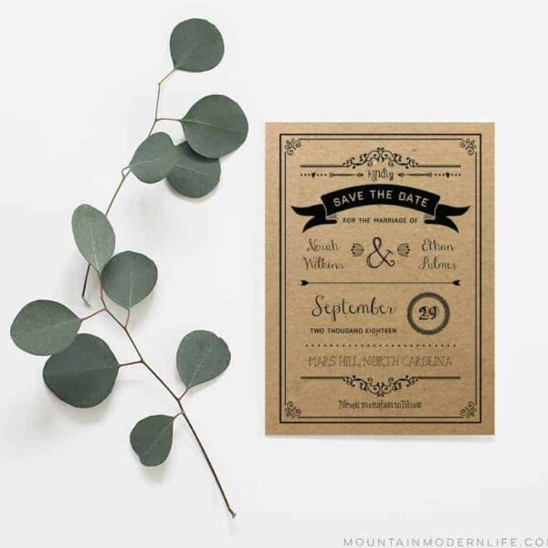 Printable Save the Date Template - Sample Shown on Kraft Paper | MountainModernLife.com