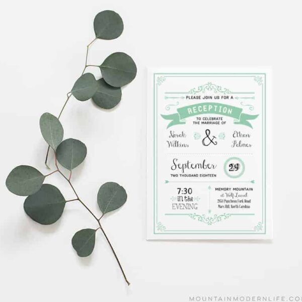 Printable Wedding Reception Only Invitation | MountainModernLife.com