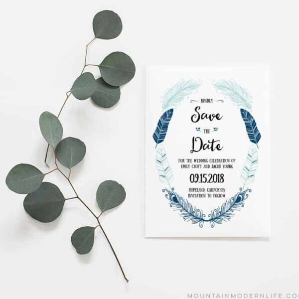 Rustic Boho Save the Date - Indigo
