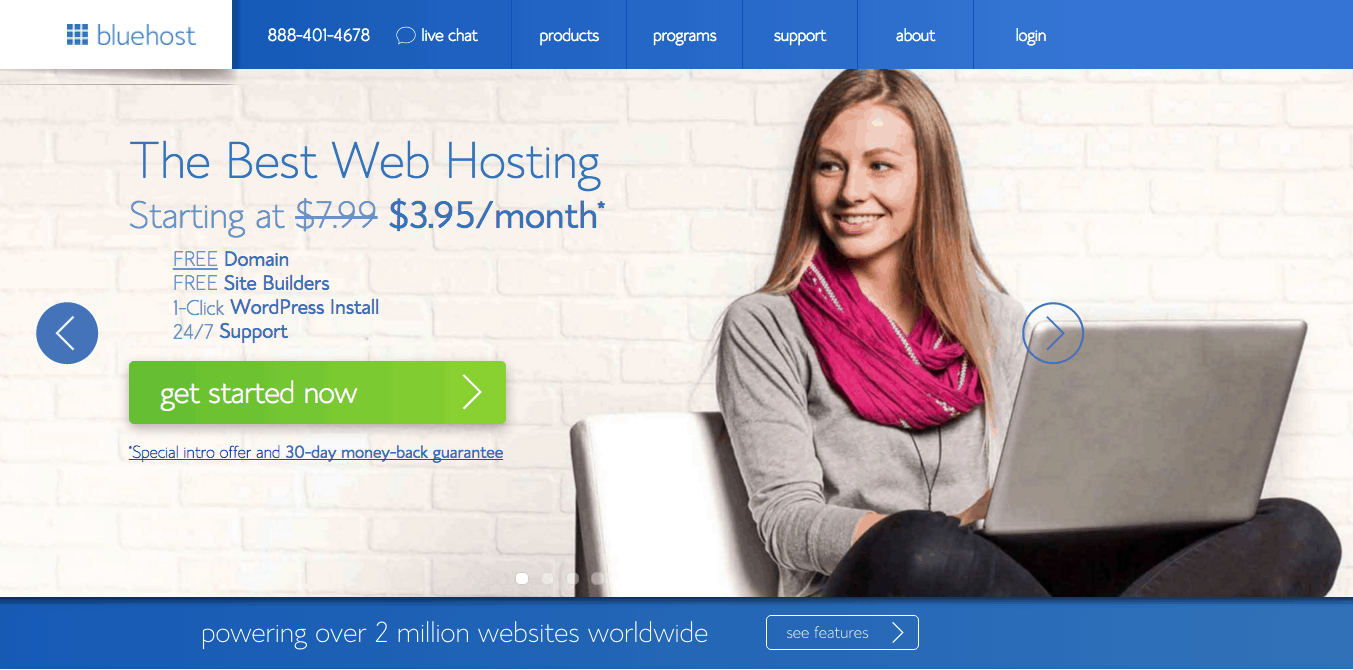 start-a-blog-bluehost-home-landing-page