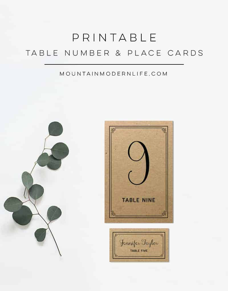 Printable rustic diy table numbers and place cards for Table place cards
