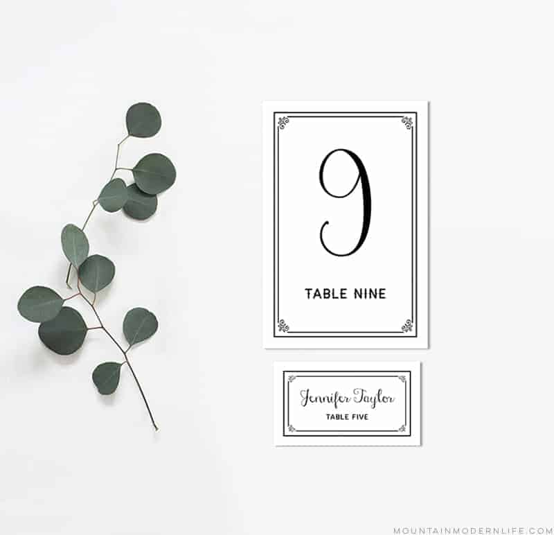 picture about Printable Place Card Template identified as Black Do it yourself Desk Figures and Desired destination Playing cards