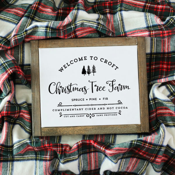 """Spruce up your home with this custom, vintage-inspired """"Farm Fresh Christmas Trees"""" design with your family name and established date!"""