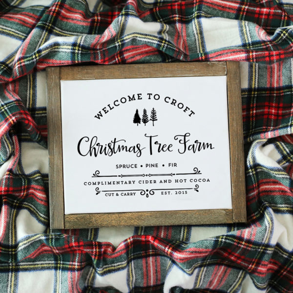 "Spruce up your home with this custom, vintage-inspired ""Farm Fresh Christmas Trees"" design with your family name and established date!"