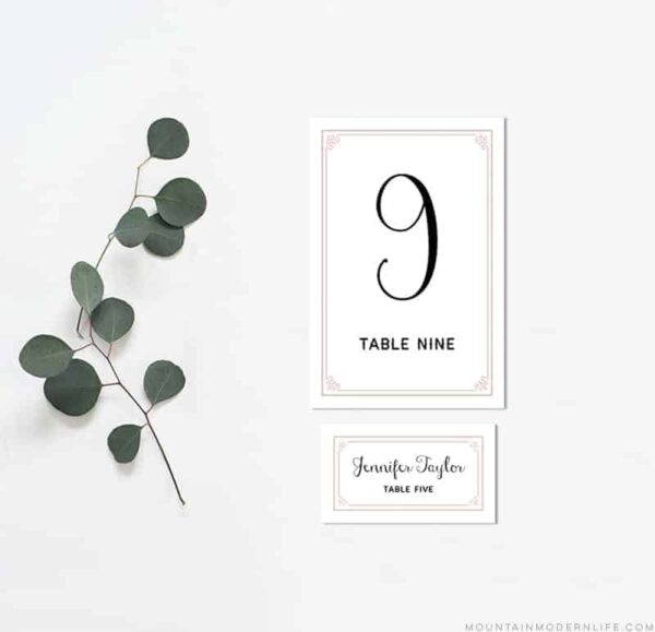 Printable Table Number and Place Card Templates   MountainModernLife.com