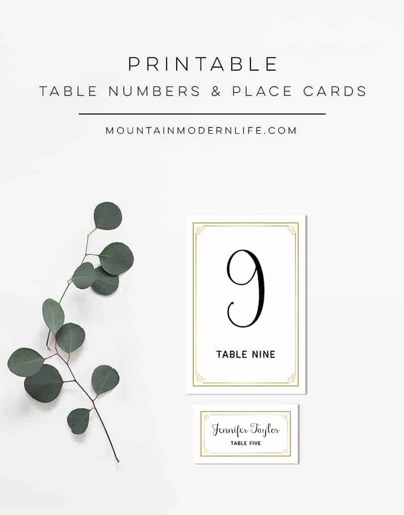 Printable Gold Table Number and Place Card Templates