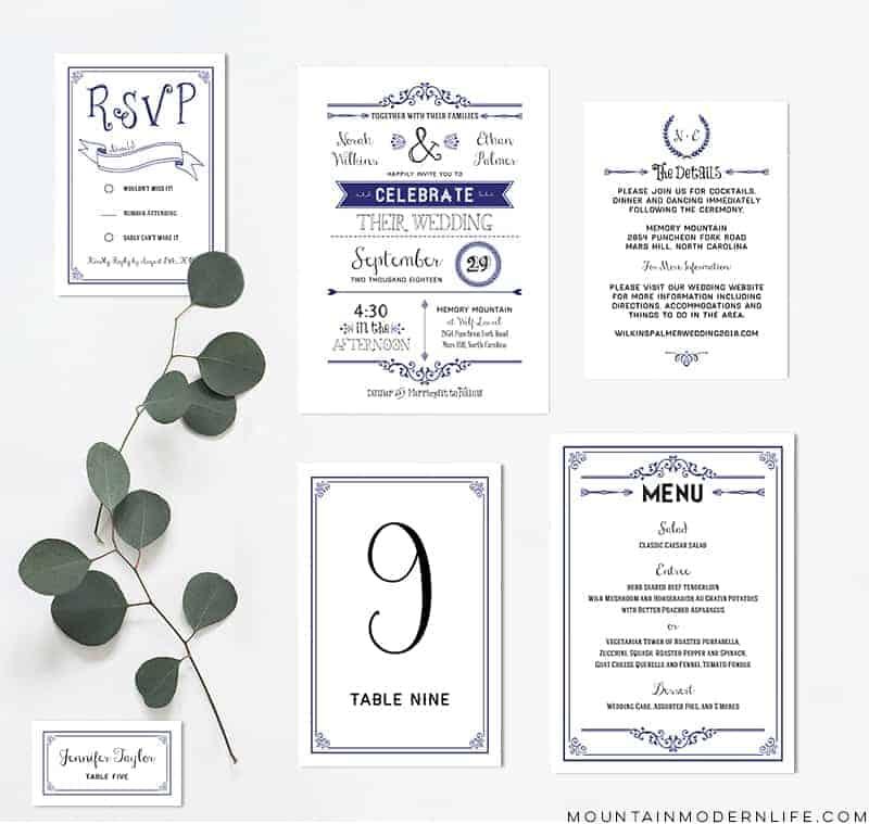 Navy Diy Wedding Invitation Set C