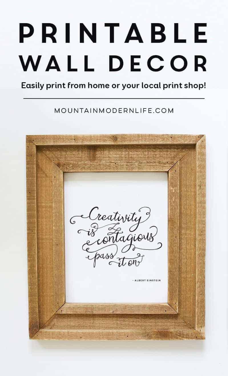 Creativity is Contagious Printable | MountainModernLife.com
