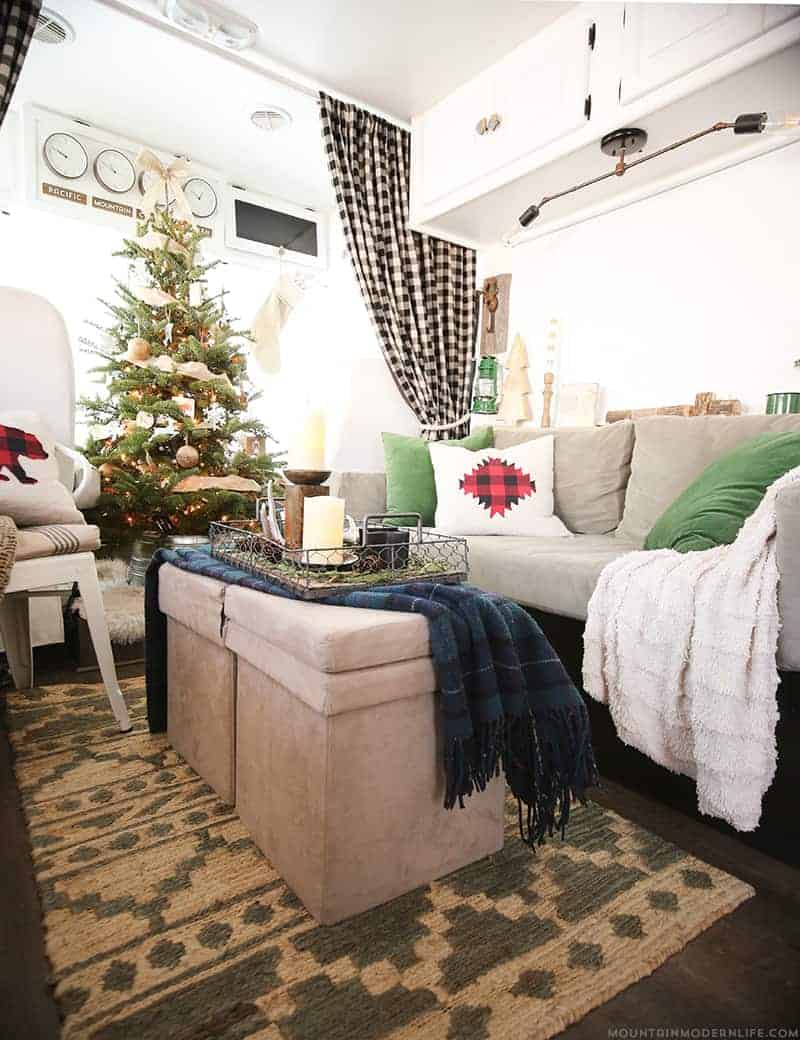 Renovated RV Christmas Home Tour - Come see how we decorated our tiny home on wheels for the holidays! MountainModernLife.com