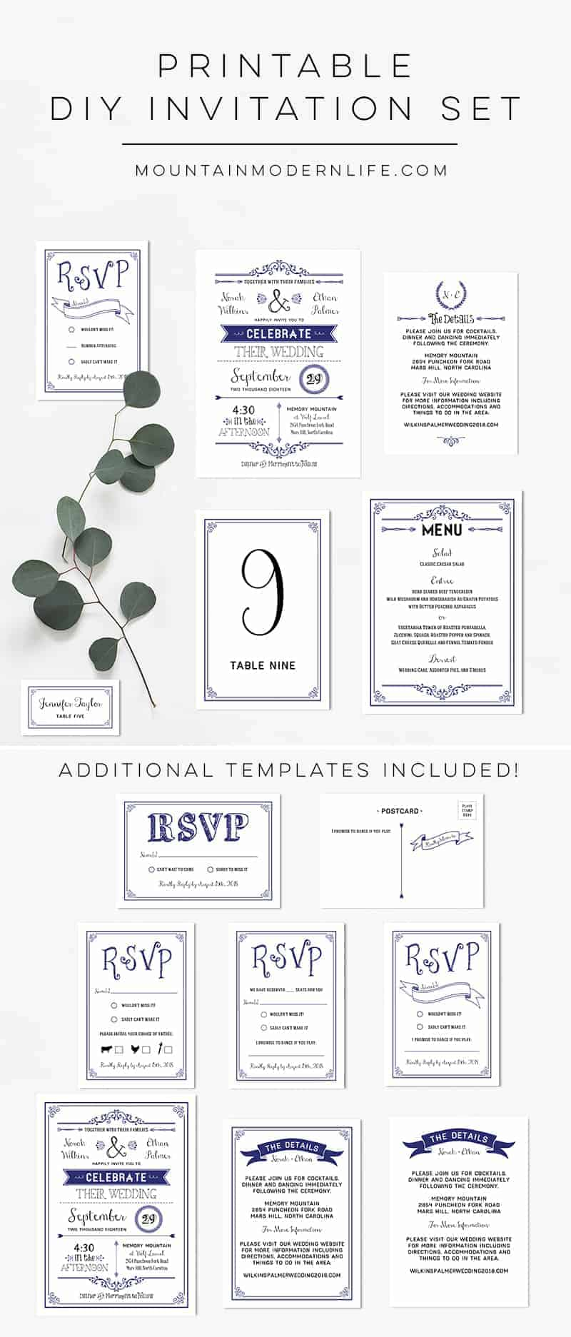 Planning a rustic or vintage-inspired wedding? Instantly download this Printable Navy Wedding Invitation Set and print as many copies as you need!