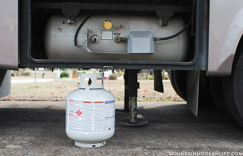 Tip two to RV during the winter smaller propane tank near onboard tank. MountainModernLife.com