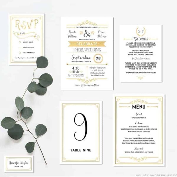 Printable Vintage Gold Wedding Invitation Set | MountainModernLife.com