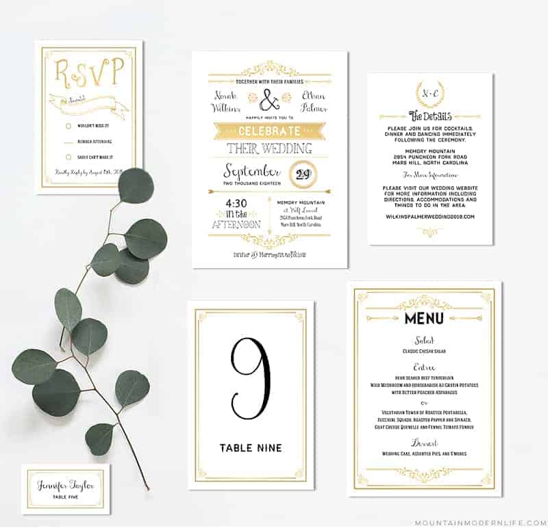 gold diy wedding invitation set mountainmodernlife com