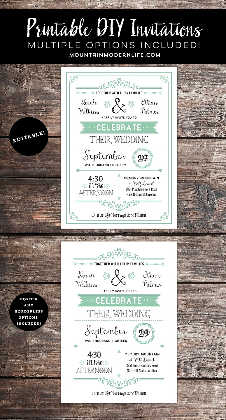 Printable Rustic DIY Wedding Invitation | MountainModernLife.com
