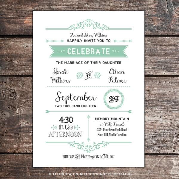 rustic mint diy wedding invitation with parent 39 s names