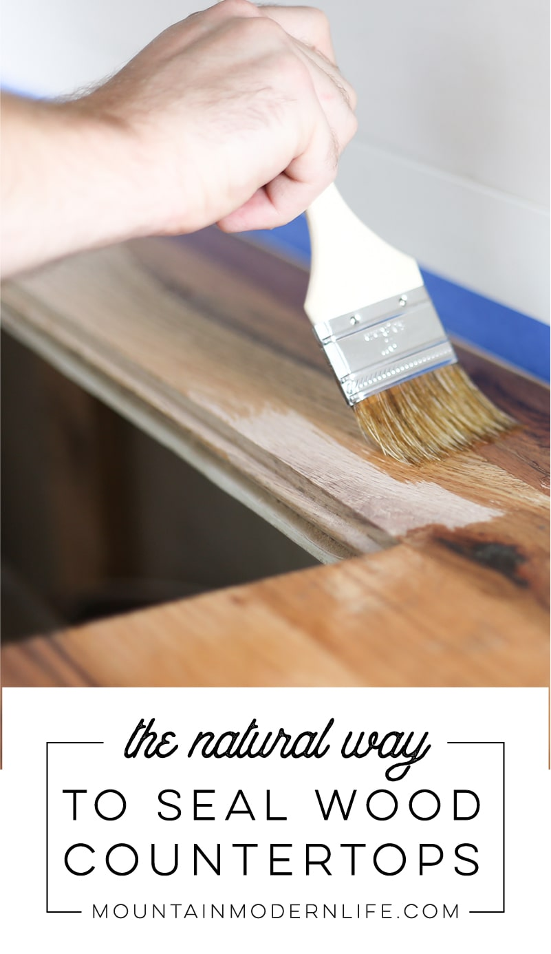 Looking for a Natural Way to Seal Wood Counters? See how we protected our RV kitchen countertops using Tung Oil which is food safe and water resistant! MountainModernLife.com