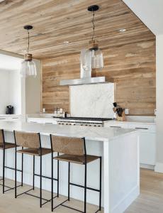 Modern Farmhouse Wood Planked Backsplash | Hanley Development