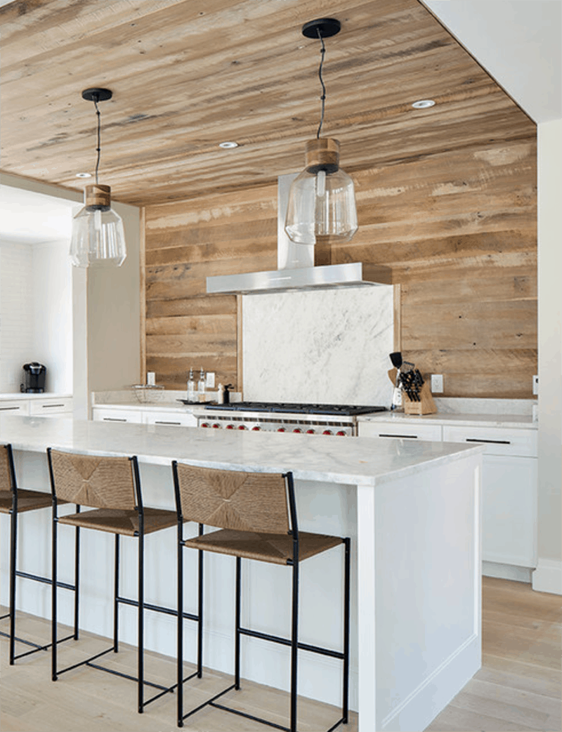 Modern Farmhouse Kitchen Backsplash wood planked kitchen backsplash | mountainmodernlife