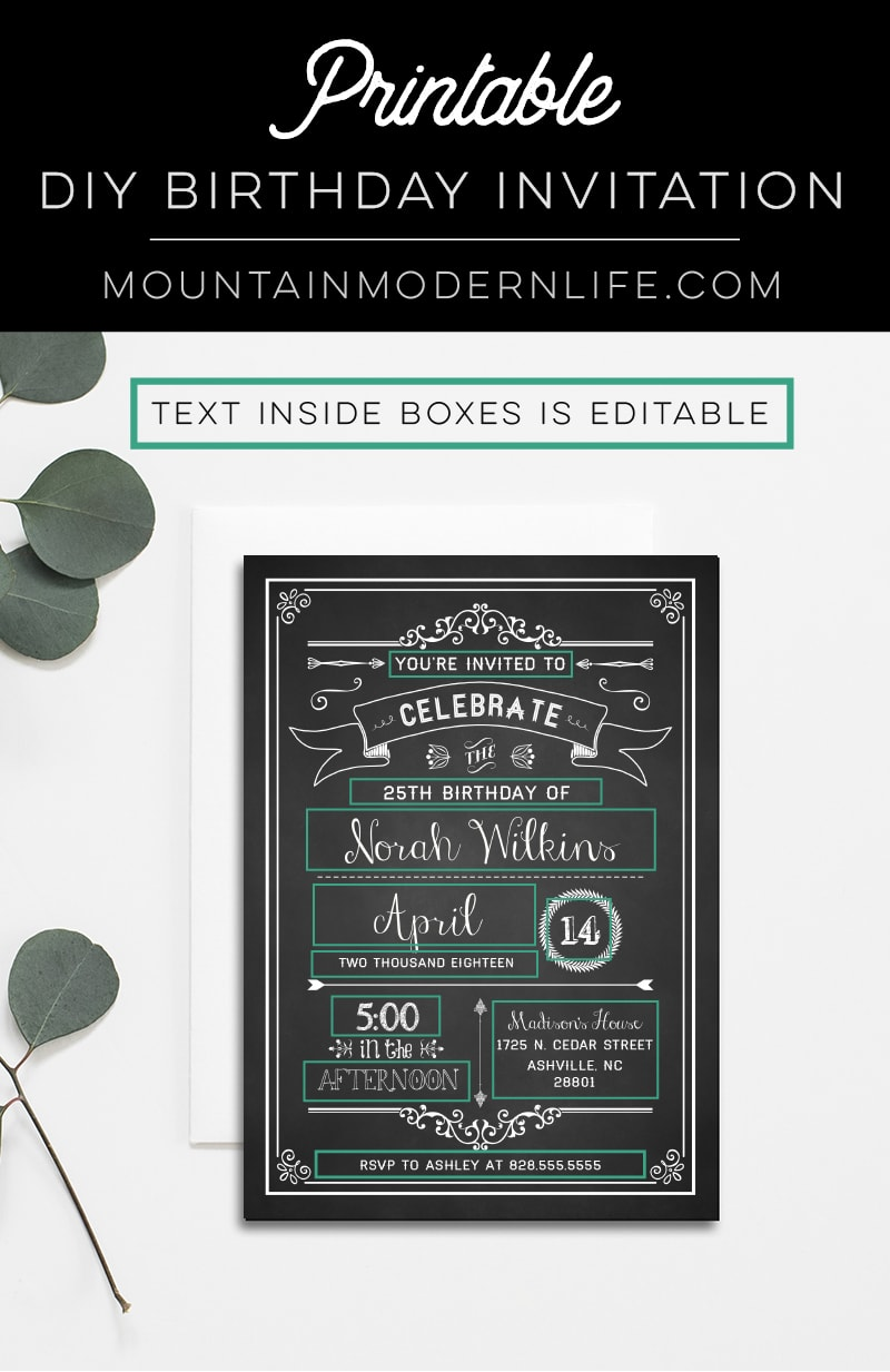 Chalkboard DIY Birthday Invitation | MountainModernLife.com