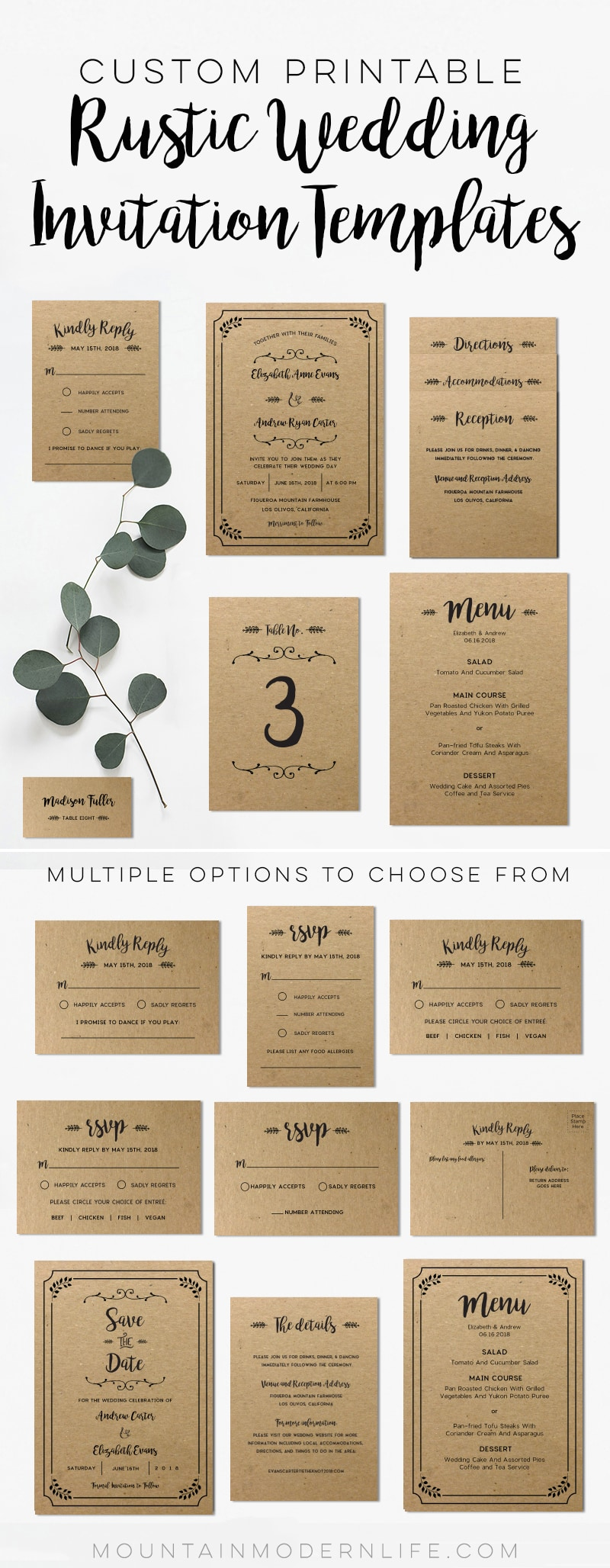 Save time and money with these custom rustic wedding invitation templates - print as many copies as you need! MountainModernLife.com