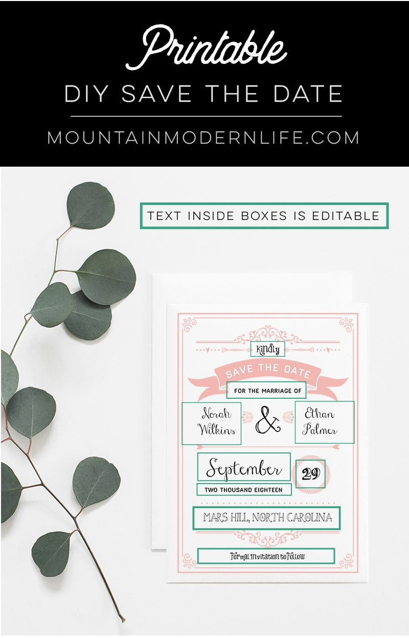 picture relating to Printable Save the Date titled Blush Crimson Rustic Do it yourself Help you save the Day