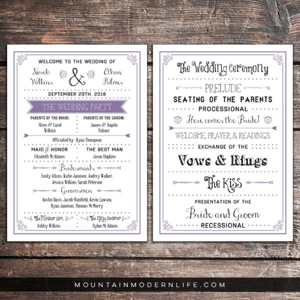 printable-lavender-rustic-wedding-program-mountainmodernlife.com
