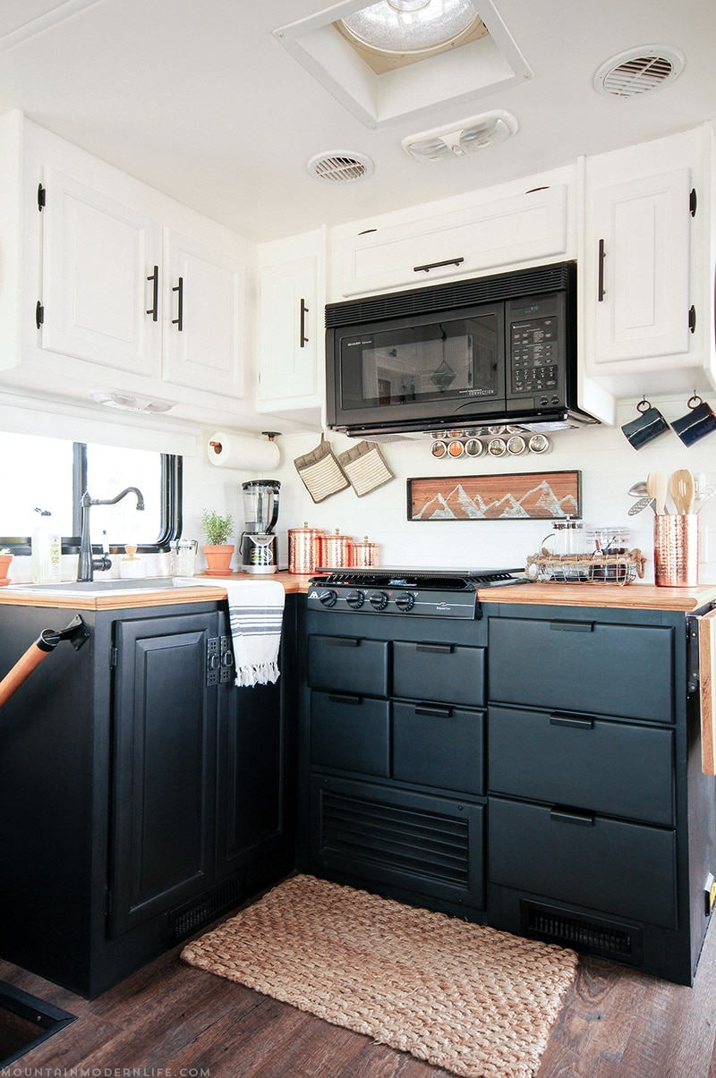 Come See How We Painted Our Two Toned RV Kitchen Cabinets, And Skip The