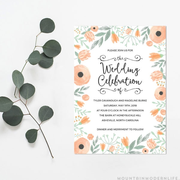 Printable DIY Wedding Invitation | MountainModernLife.com