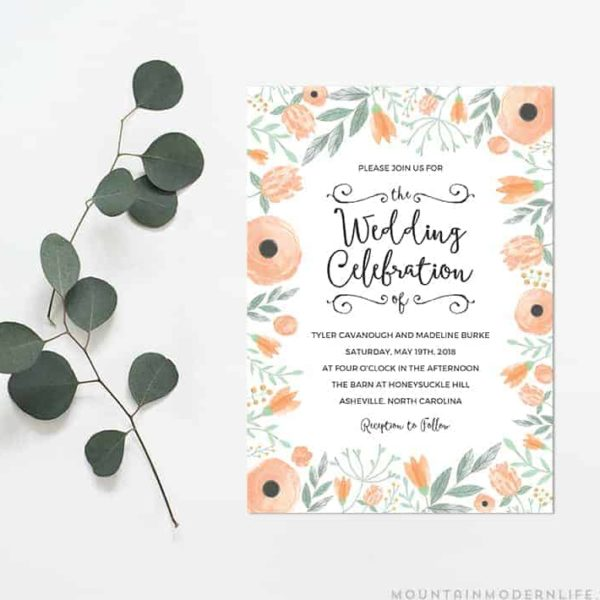 photo relating to Printable Wedding Card identified as Black Rustic Do it yourself Wedding day Invitation