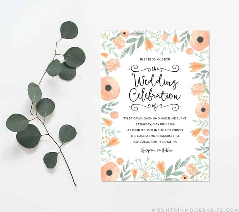 Floral peach diy wedding invitation mountainmodernlife printable diy wedding invitation mountainmodernlife pronofoot35fo Images