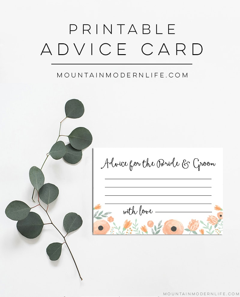 Printable Newlywed Advice Cards | MountainModernLife.com