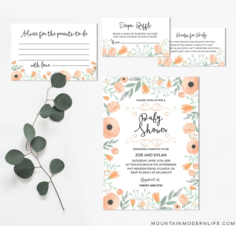 photo regarding Printable Invitation Kit named Floral Do it yourself Boy or girl Shower Invitation Package