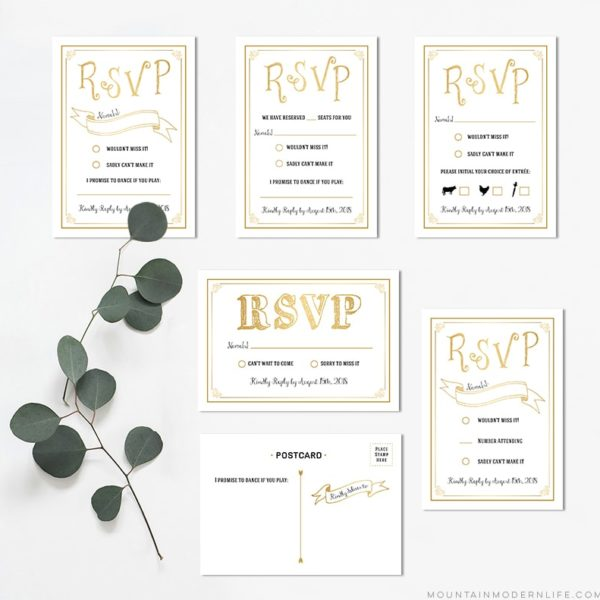 Printable Gold RSVP Card Templates | MountainModernLife.com