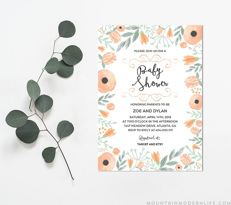 Printable Diy Baby Shower Invitation Mountainmodernlife