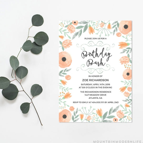 Instantly download this printable Floral DIY Birthday Invitation, and print as many copies as you need!