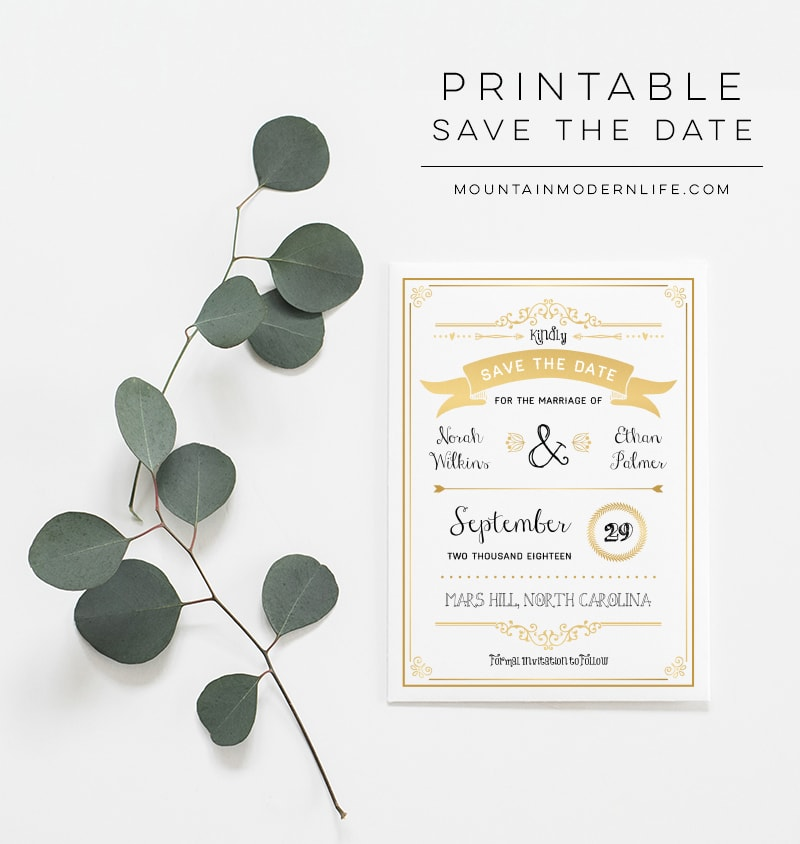 Printable Gold Save the Date | MountainModernLife.com