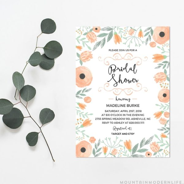 Printable DIY Bridal Shower Invitation | MountainModernLife.com