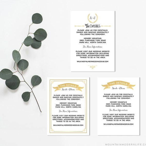 Printable Gold Details Card Templates | MountainModernLife.com