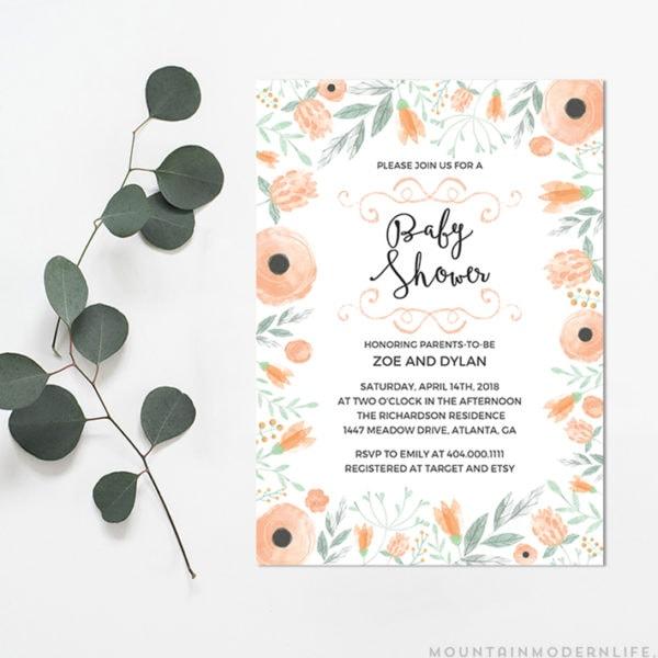 Printable DIY Baby Shower Invitation   MountainModernLife.com