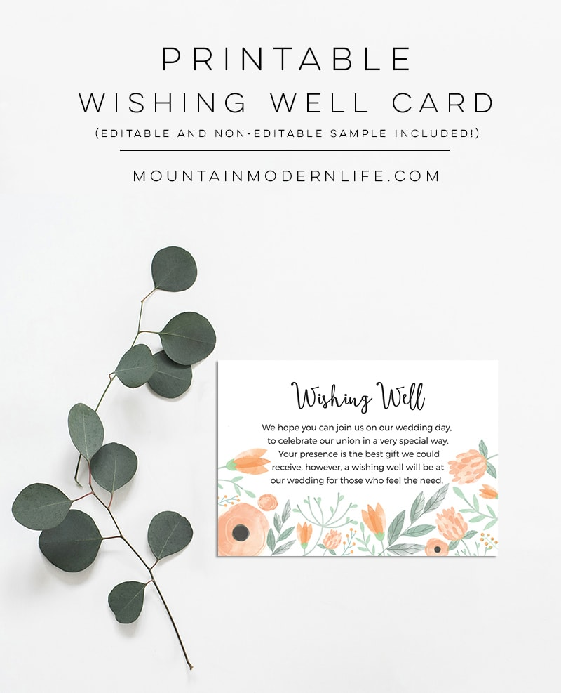 Instantly download this printable Floral Peach DIY Wishing Well Card Template, which is perfect for a Spring, Summer, or vintage-inspired wedding!