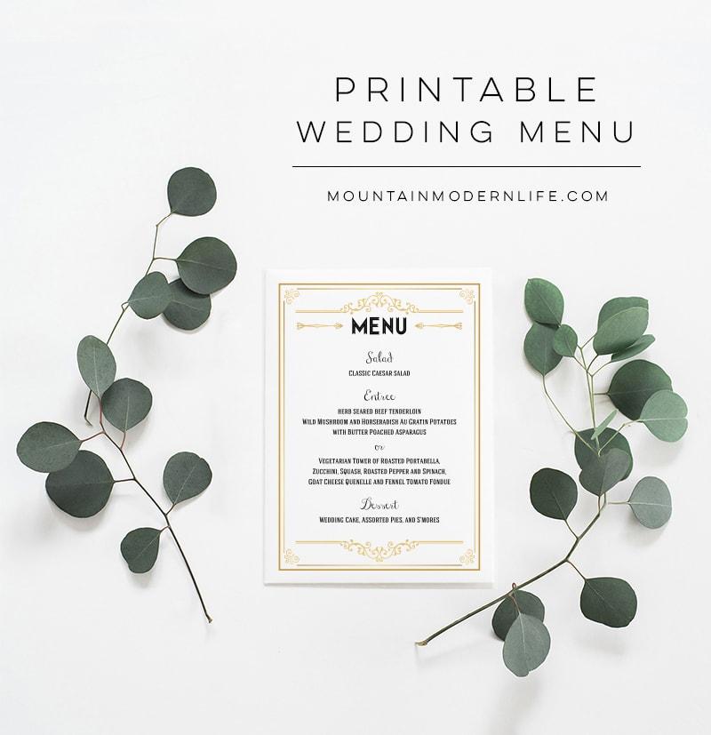 Printable Wedding Menu   MountainModernLife.com