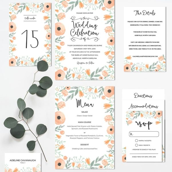Printable Floral Wedding Invitation Set | MountainModernLife.com